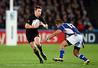 Beauden Barrett of New Zealand in possession. Rugby World Cup Pool C match between New Zealand and Namibia on September 24, 2015 at The Stadium, Queen Elizabeth Olympic Park in London, England. Photo by: Patrick Khachfe / Onside Images