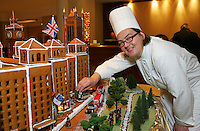 Gingerbread display at the Grosvenor House Hotel. The showpiece including The Grosvenor House Hotel, Houses of Parliament and the London Eye took 300 hours and 50 kilograms of dough to make. It was created by pastry chef Beate Woellstein.