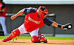 18 March 2009: Washington Nationals' catcher Javier Valentin takes infield drills prior to a Spring Training game against the Florida Marlins at Space Coast Stadium in Viera, Florida. The Marlins defeated the Nationals 7-5 in the Grapefruit League matchup. Mandatory Photo Credit: Ed Wolfstein Photo