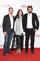 Michael Fassbender, Marion Cotillard &amp; director Justin Kurzel at the &quot;Assassin's Creed&quot; photocall at Claridges Hotel, London. December 8, 2016<br /> Picture: Steve Vas/Featureflash/SilverHub 0208 004 5359/ 07711 972644 Editors@silverhubmedia.com