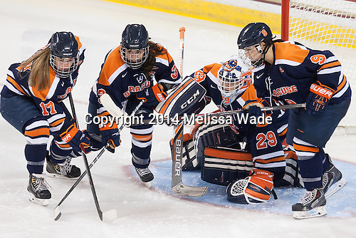 Larissa Martyniuk (SU - 17), Julie Knerr (SU - 3), Abbey Miller (SU - 29), Allie LaCombe (SU - 9) - The Boston College Eagles defeated the visiting Syracuse University Orange 10-2 on Saturday, October 4, 2014, at Kelley Rink in Conte Forum in Chestnut Hill, Massachusetts.