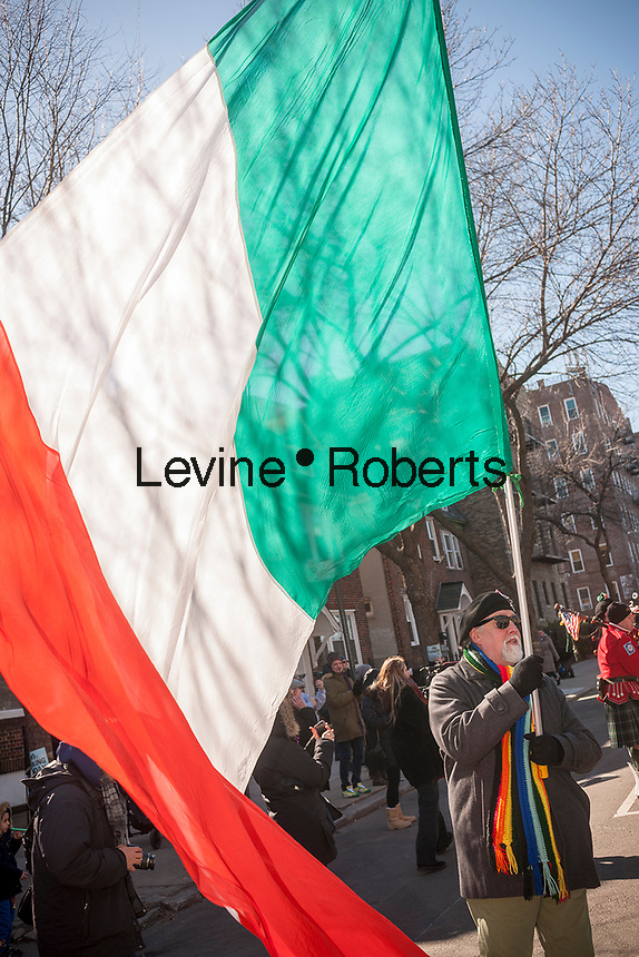 """Participants and spectators at the Sunnyside, Queens St. Patrick's Parade on March 5, 2017. Billed as """"St. Pat's For All"""" the festive event started as an alternative to the New York parade, and organizers have endeavored to make the parade inclusive allowing gays and lesbians to march who were banned from the New York parade. (© Richard B. Levine)"""