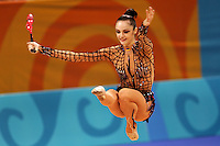 August 29, 2004; Athens, Greece; Rhythmic gymnastics star ANNA BESSONOVA of Ukraine (here performing Cossack jump with clubs) wins bronze in All-Around at 2004 Athens Olympics.<br />