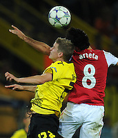 FUSSBALL   CHAMPIONS LEAGUE   SAISON 2011/2012  Borussia Dortmund - Arsenal London        13.09.2001 Sven BENDER (li, Dortmund) gegen Mikael ARTETA (re, Arsenal)