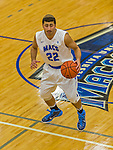 22 November 2015: Yeshiva University Maccabee Guard Judah Cohen, a Freshman from Englewood, NJ, controls play from center court during the second half of play against the Hunter College Hawks at the Max Stern Athletic Center  in New York, NY. The Maccabees defeated the Hawks 81-71 in non-conference play, for their second win of the season. Mandatory Credit: Ed Wolfstein Photo *** RAW (NEF) Image File Available ***