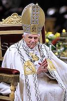Pope Benedict XVI leads a Vesper prayer at Saint Paul Basilica in Rome.January 25, 2008