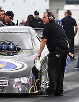 Jan 14, 2015; Jupiter, FL, USA; Jimmy Prock , crew chief for NHRA funny car driver Jack Beckman during preseason testing at Palm Beach International Raceway. Mandatory Credit: Mark J. Rebilas-USA TODAY Sports