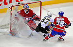 3 February 2009: Montreal Canadiens' goaltender Carey Price is sprayed by ice shavings from Pittsburgh Penguins' center Sidney Crosby and teammate Andrei Markov in the second period at the Bell Centre in Montreal, Quebec, Canada. The Canadiens defeated the Penguins 4-2. ***** Editorial Sales Only ***** Mandatory Photo Credit: Ed Wolfstein Photo