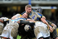 Bradley Davies of Wasps and Dominic Day of Bath Rugby in action at a maul. Aviva Premiership match, between Bath Rugby and Wasps on February 20, 2016 at the Recreation Ground in Bath, England. Photo by: Patrick Khachfe / Onside Images