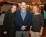 Naugatuck, CT-0218MK15 (from left) Vivien Knussi, member board of directors, Ken Hanks, president and Wendy Murphy, treasure and event chairperson, gathered Saturday night during Savor CT, a tasting, hosted by the Naugatuck Historical Society at the Portuguese Club.  Wendy Murphy, chairperson for the gathering, said that this was the sixth year in a row the event featuring beer, wine, soda and foods made in Connecticut.  Attendees explored the flavors from around the state and were able to sample everything from huge brand names like Newman's Own to more local options like Fascia's Chocolates. The annual occasion showcased the best Connecticut food and beverages has to offer. Murphy stated that she expected over 200 people to participate and the proceeds will benefit future historical exhibits the the Tuttle House. Michael Kabelka / Republican-American