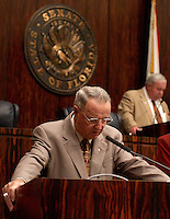 TALLAHASSEE, FL. 4/2/03-Florida State Football Coach Bobby Bowden leads the opening prayer for the Senate Wednesday at the Capitol in Tallahassee. Senate President Jim King, R-Jacksonville, right, is an FSU alum and invited Bowden to open the session as part of Florida State Day at the Capitol. COLIN HACKLEY PHOTO