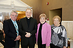 Watertown, CT- 30 March 2017-033017CM11-  From left, Prospect mayor, Robert Chatfield, Father Gregory Jaworowski of St. Anthony's of Prospect, Fran Lamontagne and Betty Leary, also from St. Anthony's, are photographed during The St. Vincent DePaul Mission of Waterbury annual banquet at The Grand Oak Villa in Oakville.  Christopher Massa Republican-American