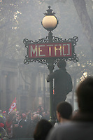 demonstration against the retrait reform legislation of the Sarkozy government,  Bd. Haussmann, Paris..Photograph by Owen Franken