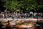 "New York, United States, September 21, 2011..Hundreds of protesters from the movement ""Occupy Wall Street""   continue for 5th day, peaceful protests against the economic system around Wall Street in Zuccotti Park in New York. September 21, 2011. VIEWpress / Eduardo Munoz Alvarez..In New York, the Occupy Wall Street movement (which began on the 17th September this year) has spread throughout the country. What started as a peaceful protest to campaign against capitalism has now taken root in other cities such as Chicago and Boston. They claim to have been inspired by Egypt's Tahrir Square protests. Even Anonymous, the ""hacktivists"", have emerged from their computer caves to take to the streets. Local Media Reported."