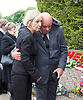 Leslie Rhodes funeral at North East Surrey Crematorium, Morden, Surrey, Great Britain 5th May 2017 <br /> <br /> Niece Amanda Rhodes with neighbour Phil <br /> <br /> Leslie Rhodes was one of the victims of the Westminster terror attack on 22nd March 2017. Mr Rhodes was Winston Churchill's former window cleaner.<br /> <br /> Leslie Rhodes, from south London, suffered serious injuries when terrorist Khalid Masood mowed down pedestrians on Westminster Bridge. The 75-year-old was rushed to King&rsquo;s College Hospital but died there when his life support was withdrawn at about 8.25pm the following day. <br /> <br /> He had been attending an appointment at St Thomas&rsquo;s Hospital before Masood went on a rampage &ndash; killing four and injuring 50 before he was shot dead by police.<br /> <br /> Mr Rhodes, who friends revealed was the former window cleaner of Winston Churchill, suffered broken ribs and a punctured lung in the attack.<br /> <br /> <br /> Photograph by Elliott Franks <br /> Image licensed to Elliott Franks Photography Services