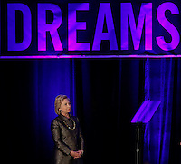 Presidential candidate Hillary Clinton awaits to speak to guests during the National Immigrant Integration Conference in Brooklyn,  New York, 12/14/2015 Photo by VIEWpress