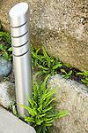 A sleek outdoor light sits next to maidenhair ferns in a rock wall.