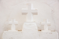 Three Crucifixes besides the Church of Sancta Eularia Ibiza Spain