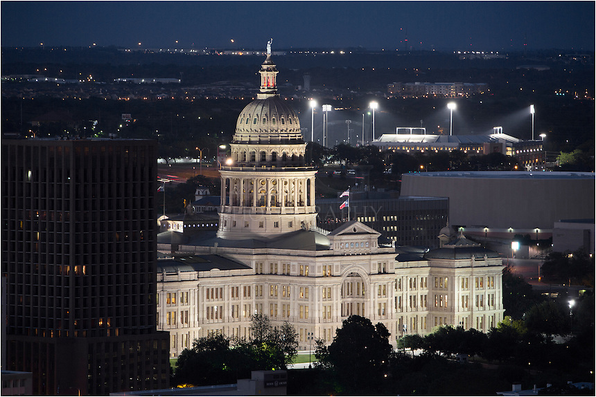 From the 44th floor of the Springs Condos, this is the view you'll have of the capitol of the Lone Star State. Covering over 22 acres, the grounds for this pink granite building come from Marble Falls, and the nighttime sight is worth the visit day or night.