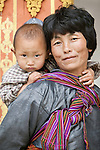 Portrait of a mother and child, Paro Valley, Bhutan