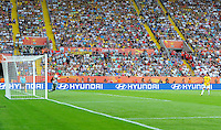 Goalkeeper Hope Solo of team USA (l) saves the penalty from Daiane of Brazil during the FIFA Women's World Cup at the FIFA Stadium in Dresden, Germany on July 10th, 2011.