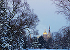 Jan. 6, 2014; Basilica and Dome at dusk after a heavy snowfall.<br /> <br /> Photo by Matt Cashore/University of Notre Dame