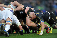 Matt Garvey of Bath Rugby in action at a scrum. European Rugby Champions Cup match, between Bath Rugby and Leinster Rugby on November 21, 2015 at the Recreation Ground in Bath, England. Photo by: Patrick Khachfe / Onside Images