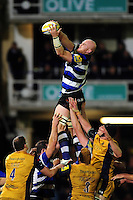 Matt Garvey of Bath Rugby rises high to win lineout ball. Aviva Premiership match, between Bath Rugby and Bristol Rugby on November 18, 2016 at the Recreation Ground in Bath, England. Photo by: Patrick Khachfe / Onside Images