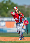 15 March 2016: Washington Nationals infielder Scott Sizemore turns a double-play during a Spring Training pre-season game against the Houston Astros at Osceola County Stadium in Kissimmee, Florida. The Nationals defeated the Astros 6-4 in Grapefruit League play. Mandatory Credit: Ed Wolfstein Photo *** RAW (NEF) Image File Available ***