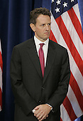 Chicago, IL - November 24, 2008 -- United States Treasury Secretary-designate Timothy Geithner stands at a news conference where President-elect Barak Obama introduced his economic team on Monday, November 24, 2008 in Chicago. Obama also introduced National Economic Council Director-designate Lawrence Summers, Council of Economic Advisers Chair-designate Christina Romer and White House Domestic Policy Council Director-designate Melody Barnes. .Credit: Brian Kersey - Pool via CNP