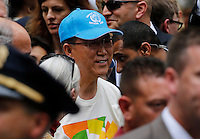 New York City, NY. 21 September 2014. United Nations Secretary-General Ban Ki-moon attend the People's Climate March, making it the largest climate march in history. Photo by Kena Betancur/VIEWpress