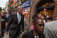 NEW YORK JUNE 13: Mayor Bill de Blassio and his wife Chirlane McCray outside of the Stonewall Inn, a historic New York City gay bar, to pay tribute to the victims of the massive shooting in a gay nightclub in Orlando, Florida. New York June 13, 2016<br />  Photo by VIEWpress/Maite H. Mateo.