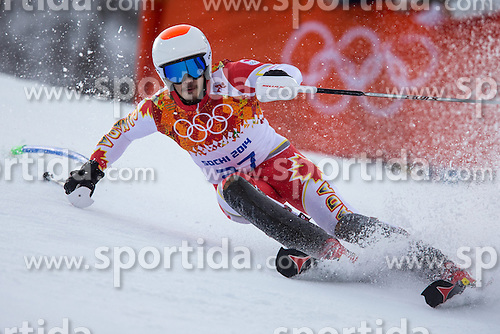 14.02.2014, Rosa Khutor Alpine Center, Krasnaya Polyana, RUS, Sochi 2014, Super- Kombination, Herren, Slalom, im Bild Morgan Pridy (CAN) // Morgan Pridy of Canada in action during the Slalom of the mens Super Combined of the Olympic Winter Games 'Sochi 2014' at the Rosa Khutor Alpine Center in Krasnaya Polyana, Russia on 2014/02/14. EXPA Pictures © 2014, PhotoCredit: EXPA/ Johann Groder