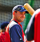 6 June 2009: Washington Nationals' third baseman Ryan Zimmerman awaits his turn in the batting cage prior to a game against the New York Mets at Nationals Park in Washington, DC. The Nationals defeated the Mets 7-1, marking pitcher John Lannan's first complete game of his career. Mandatory Credit: Ed Wolfstein Photo