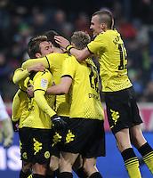 FUSSBALL   1. BUNDESLIGA  SAISON 2011/2012   13. Spieltag FC Bayern Muenchen - Borussia Dortmund        19.11.2011 Jubel nach dem Tor zum 0:1, Mario Goetze ,  Sven Bender , Kevin Grosskreutz (v. li., Borussia Dortmund)