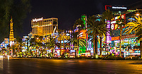 Las Vegas, Nevada.  Las Vegas Boulevard, The Strip, Just before Midnight.
