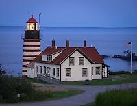Lubec, Maine:<br /> West Quoddy Head Light at dusk