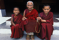 Three Tibetan Buddhist monks at Dip-Tse-Chok-Ling Monastery in Dharamsala, India. With more than 6500 Tibetan Buddhist monasteries destroyed in Tibet after the 1959 Chinese invasion many of the monks and lamas have fled their homeland. New monasteries such as Dip-Tse-Chok-Ling Monastery in Dharamsala India have been rebuilt to house the exiled refugees and the new generation of enthusiastic young monks.