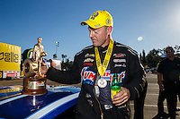 Feb 12, 2017; Pomona, CA, USA; NHRA pro stock driver Jason Line celebrates after winning the Winternationals at Auto Club Raceway at Pomona. Mandatory Credit: Mark J. Rebilas-USA TODAY Sports