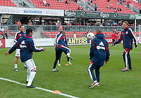 14 April 2012: Chivas USA players kick the ball around during the warm-up in a game between Chivas USA and Toronto FC at BMO Field in Toronto..Chivas USA won 1-0.