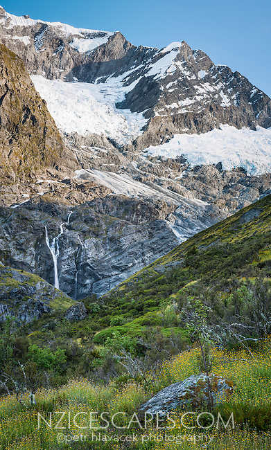 Morning at Rob Roy Glacier, Matukituki Valley, Central Otago, Mt. Aspiring National Park, UNESCO World Heritage Area, New Zealand, NZ