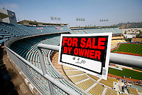 15 June 2011: FOR SALE BY OWNER $1.00 sign on the upper deck before a Major League Baseball game LA Dodgers vs the Cincinnati Reds at Dodger Stadium during a day game.  Staged Photo Illustration **Editorial Use Only**