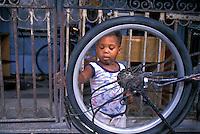 Old Havana Cuba Boy Spinning Bicycle Tire,  Republic of Cuba,