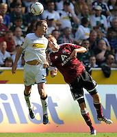 FUSSBALL   1. BUNDESLIGA   SAISON 2011/2012    7. SPIELTAG Borussia Moenchengladbach - 1. FC Nuernberg         24.09.2011 Filip DAEMS (li, Moenchengladbach gegen Jens HEGELER (re, Nuernberg)
