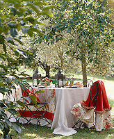 A table laid in the orchard has a red and white theme for an autumn inspired lunch