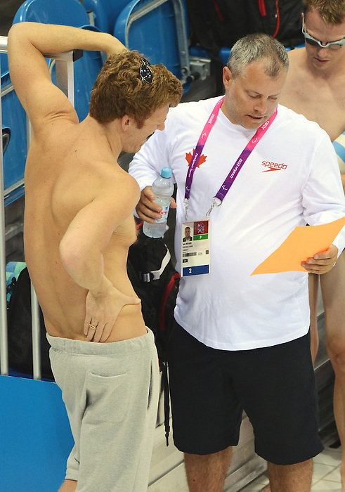 LONDON, ENGLAND – 08/24/2012: Seb Messier, coach with the Canadian Swim Team, during a training session at the London 2012 Paralympic Games at The Aquatic Centre. (Photo by Matthew Murnaghan/Canadian Paralympic Committee)