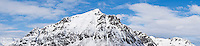 Justadtind mountain peak in winter, Vestvågøy, Lofoten islands, Norway