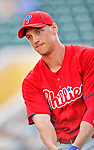 9 March 2012: Philadelphia Phillies outfielder Hunter Pence awaits his turn in the batting cage prior to a Spring Training game against the Detroit Tigers at Joker Marchant Stadium in Lakeland, Florida. The Phillies defeated the Tigers 7-5 in Grapefruit League action. Mandatory Credit: Ed Wolfstein Photo