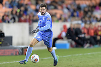 Houston, TX -  Friday, December 9, 2016: Walker Hume (37) of the North Carolina Tar Heels brings the ball up the field in the first half against the Stanford Cardinal  at the  NCAA Men's Soccer Semifinals at BBVA Compass Stadium.