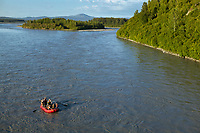 Tourists raft down the Susitna River, from Talkeetna.